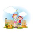 kids in garden vector image vector image