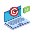 laptop computer with business icons vector image