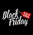 lettered text black friday with hanging sale tag vector image vector image