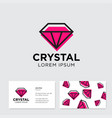logo crystal green pattern business card vector image