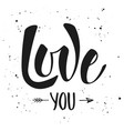 love you modern ink brush calligraphy with splash vector image vector image