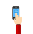 mail Hand Hold Touch Screen on Mobile Phone vector image