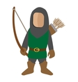 Medieval character archer cartoon icon vector image