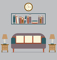 Modern Design Interior Sofa and Bookshelf vector image vector image