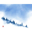 mountain slope with pine trees in fog and blue sky vector image vector image