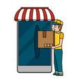 online delivery cartoon vector image vector image