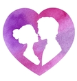 Profile silhouettes of man and woman watercolor vector image vector image