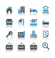 Real estate icons reflection vector image
