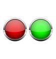 red and green glass buttons shiny round 3d web vector image