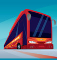 red modern passenger bus on the road vector image