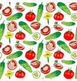 seamless pattern of colored tomatoes and cucumbers vector image vector image