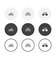 set 3 simple design bike icons rounded vector image