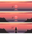 Set horizontal banners of sunset over the sea vector image vector image