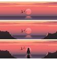 set horizontal banners sunset over sea vector image