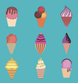 set ice cream ice cream vector image