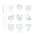 set of graphic design icons and concepts in mono vector image vector image