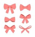 set pink vintage gift bows wig ribbons vector image vector image