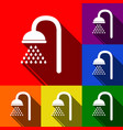 shower sign set of icons with flat vector image vector image