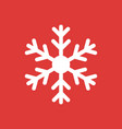 snowflake icon isolated on red background vector image