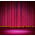 Spotlight on red stage curtain vector image vector image