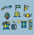 sweden soccer supporter gear set vector image vector image