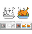 thanksgiving day turkey linear icon vector image vector image