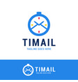 time mail logo icon design logotype clock vector image vector image