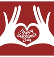 valentine day lettering background with hands in vector image vector image