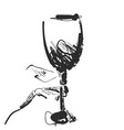 wine glass in the hand hand drawn sketch cartoon vector image