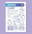 winter snow camp holiday resort brochure template vector image
