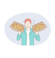 working as deliveryman job career concept vector image vector image
