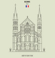 abbey of saint-remi in reims vector image vector image