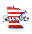 american flag in minnesota state map grunge style vector image vector image