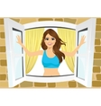 attractive woman opening her room s windows vector image vector image