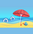 beach umbrella -red parasol in paper cut style vector image