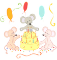 Birthday animals card vector image