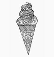 black and white of ice cream vector image vector image