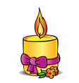 Candle and bow vector image vector image