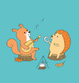 cartoon cute autumn squirrel and hedgehog vector image