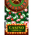 casino poker wheel fortune gambling chips vector image vector image