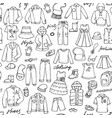 childish clothes and lettering doodle seamless vector image vector image
