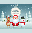 christmas companions santa claus snowman and vector image