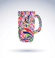 Creative beer mug decorated with floral pattern vector image