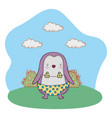 cute little penguin with swimsuit in the camp vector image