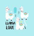 cute llama print design with slogan vector image vector image