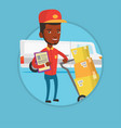 delivery man with cardboard boxes vector image