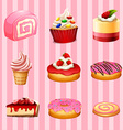 Different kind of dessert strawberry flavor vector image vector image