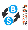 dollar baht exchange icon with love bonus vector image vector image