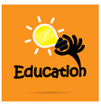 Education title texts and hand shape vector image vector image