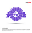 globe icon with plane - purple ribbon banner vector image